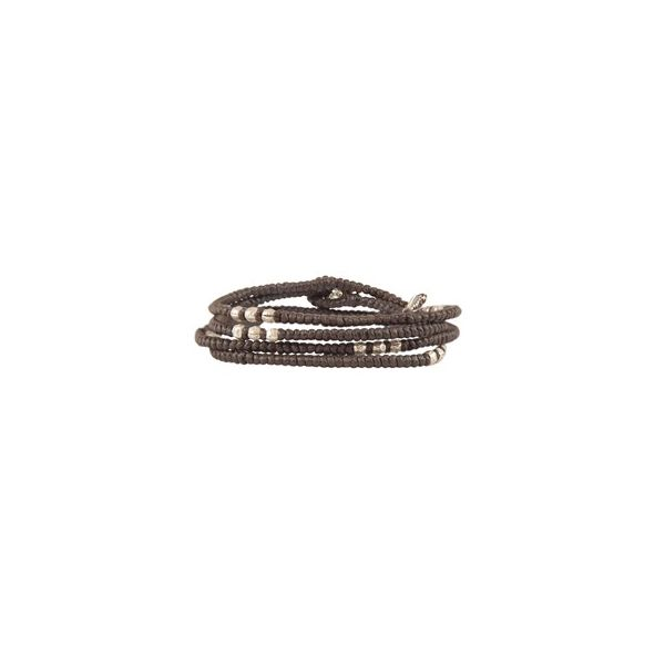 4 - Layer Knotted Wrap Silver Bead Bracelet : Colors Black Cord