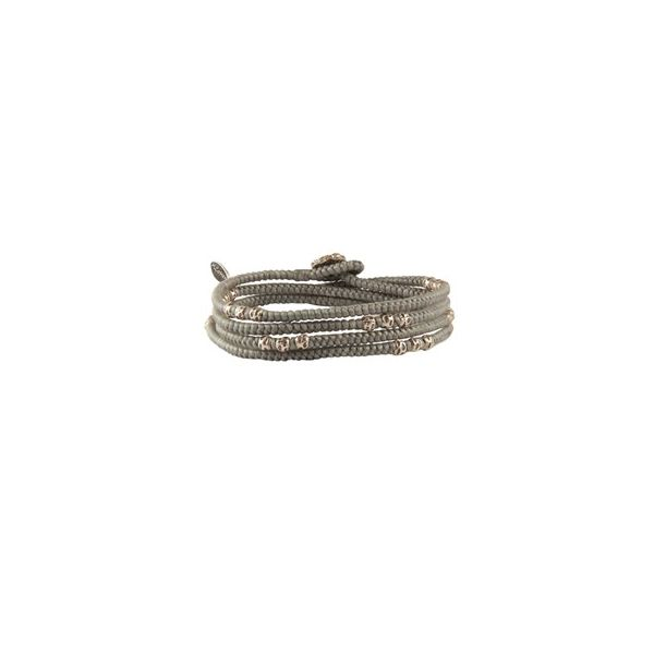 4 - Layer Knotted Wrap Silver Bead Bracelet : Colors Grey Cord